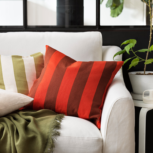 HILDAMARIA - cushion cover, green natural/striped | IKEA Hong Kong and Macau - PE827606_S4