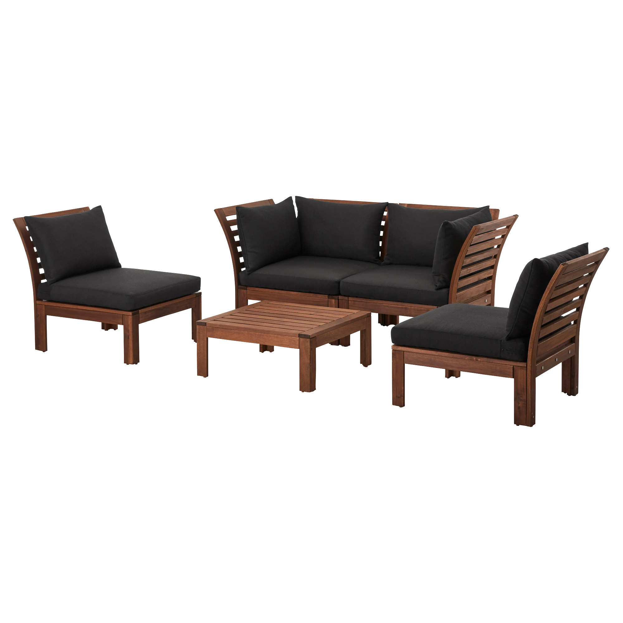 Applaro 4 Seat Conversation Set Outdoor Brown Stained Hallo Black Ikea Hong Kong And Macau