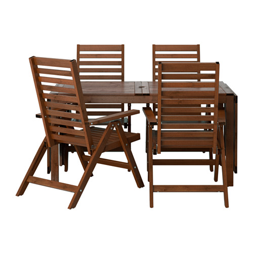 ÄPPLARÖ - table+4 reclining chairs, outdoor, brown stained | IKEA Hong Kong and Macau - PE513339_S4