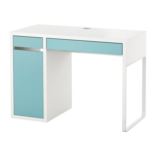 MICKE - desk, width 105 x depth 50cm, white/light turquoise | IKEA Hong Kong and Macau - PE575600_S4