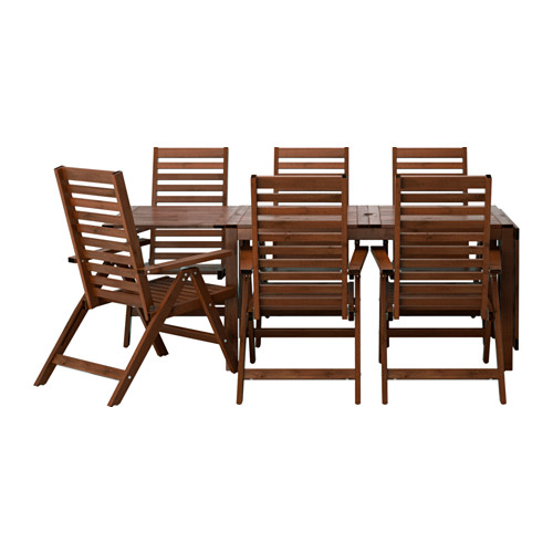 ÄPPLARÖ - table+6 reclining chairs, outdoor, brown stained | IKEA Hong Kong and Macau - PE513327_S4