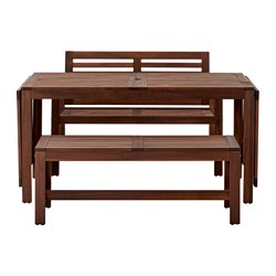 ÄPPLARÖ - table+2 benches, outdoor, brown stained | IKEA Hong Kong and Macau - PE513323_S3