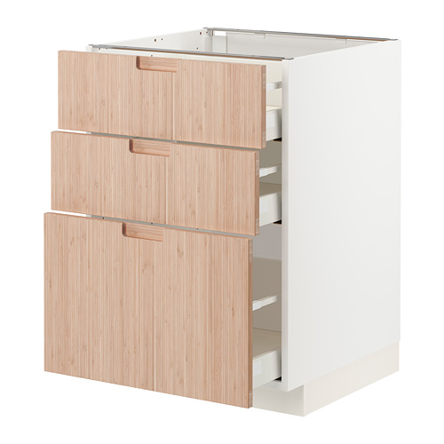 METOD/MAXIMERA - 3層抽屜地櫃, 白色/Fröjered 淺色竹 | IKEA 香港及澳門 - PE771533_S4