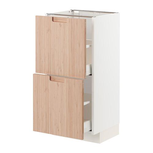 MAXIMERA/METOD - 兩層抽屜地櫃, 白色/Fröjered 淺色竹 | IKEA 香港及澳門 - PE771535_S4
