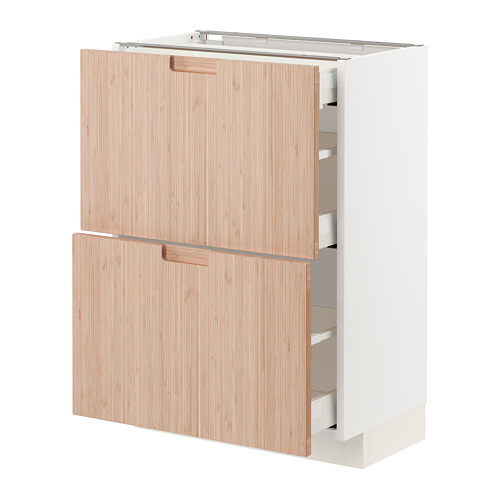 METOD/MAXIMERA - base cab with 2 fronts/3 drawers, white/Fröjered light bamboo | IKEA Hong Kong and Macau - PE771538_S4