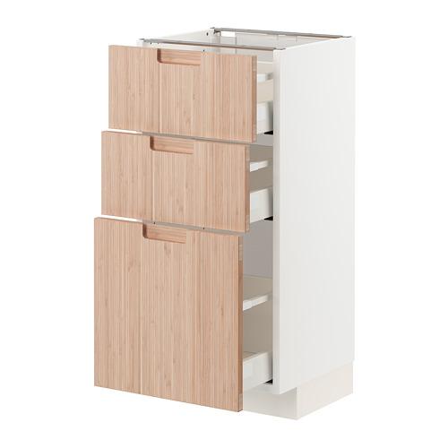 METOD/MAXIMERA - base cabinet with 3 drawers, white/Fröjered light bamboo | IKEA Hong Kong and Macau - PE771518_S4