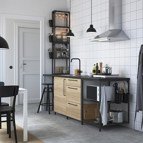 ENHET - 廚房, 炭黑色/橡木紋 | IKEA 香港及澳門 - PE828406_S4