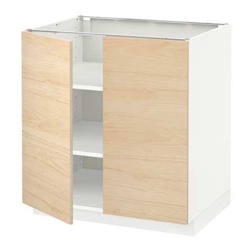 METOD - base cabinet with shelves/2 doors, white/Askersund light ash effect   IKEA Hong Kong and Macau - PE637707_S4