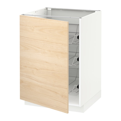METOD - base cabinet with wire baskets, white/Askersund light ash effect | IKEA Hong Kong and Macau - PE637821_S4