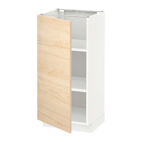 METOD - base cabinet with shelves, white/Askersund light ash effect | IKEA Hong Kong and Macau - PE637709_S4
