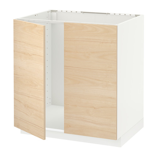 METOD base cabinet for sink + 2 doors