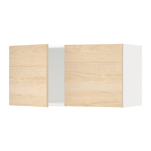 METOD - wall cabinet with 2 doors, white/Askersund light ash effect | IKEA Hong Kong and Macau - PE637730_S4