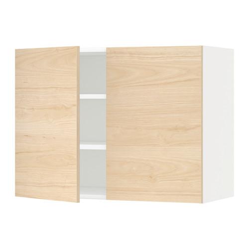 METOD - wall cabinet with shelves/2 doors, white/Askersund light ash effect | IKEA Hong Kong and Macau - PE637835_S4