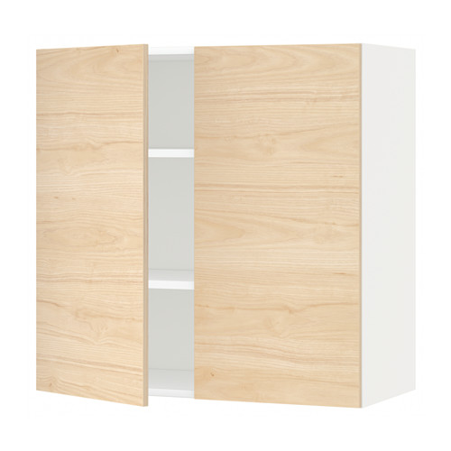 METOD - wall cabinet with shelves/2 doors, white/Askersund light ash effect | IKEA Hong Kong and Macau - PE637830_S4