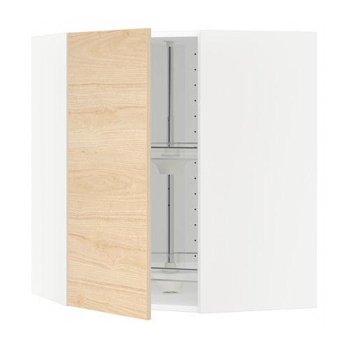 METOD - corner wall cabinet with carousel, white/Askersund light ash effect | IKEA Hong Kong and Macau - PE637737_S4