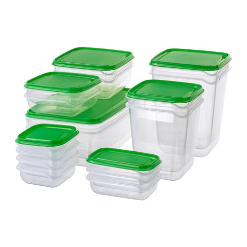PRUTA - 食物盒,17件套裝, 透明/綠色 | IKEA 香港及澳門 - PE728174_S4