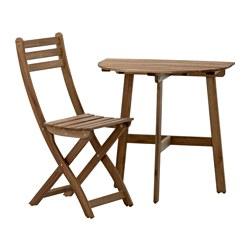 ASKHOLMEN - 戶外上牆檯連1張摺椅, 染灰褐色 | IKEA 香港及澳門 - PE513349_S3