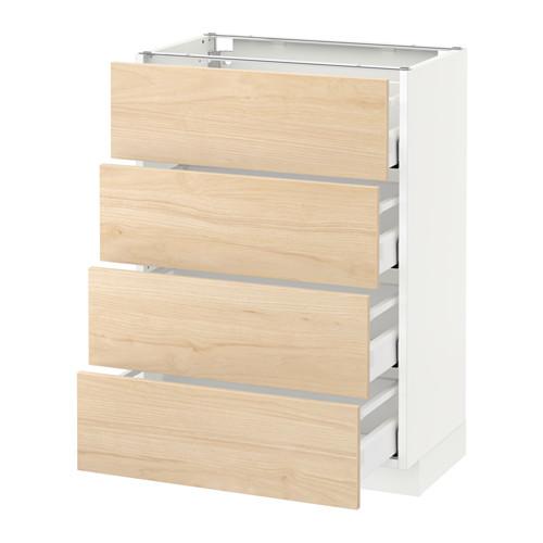 METOD - 地櫃連4面板/4抽屜, 白色 Maximera/Askersund 淺梣木紋 | IKEA 香港及澳門 - PE637989_S4