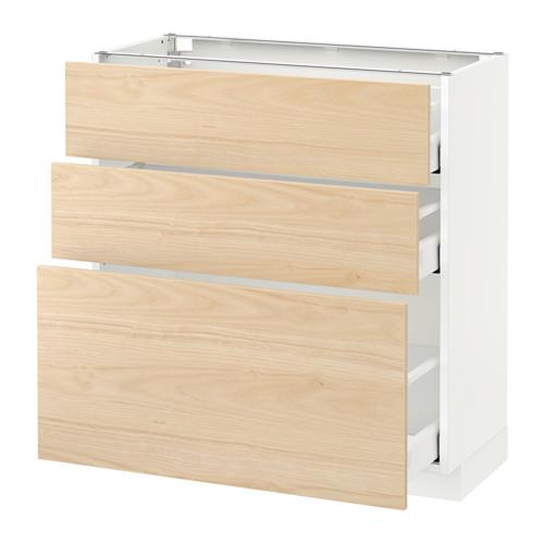 METOD - base cabinet with 3 drawers, white Maximera/Askersund light ash effect | IKEA Hong Kong and Macau - PE638013_S4