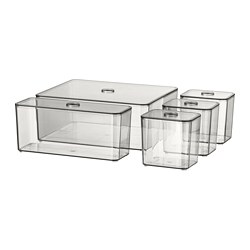 GODMORGON - box with lid, set of 5, smoked | IKEA Hong Kong and Macau - PE728525_S3