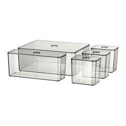 GODMORGON - 連蓋箱,5件套裝, 透明灰色 | IKEA 香港及澳門 - PE728525_S3