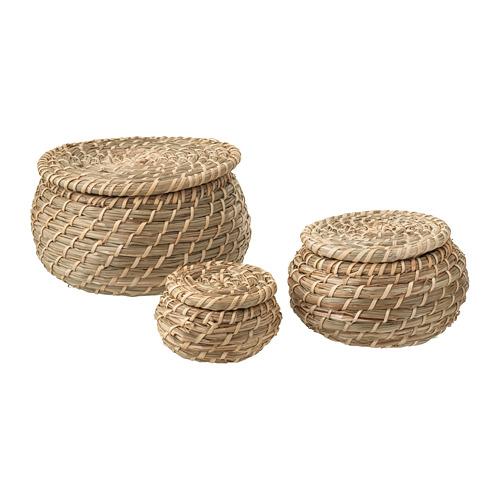 FRYKEN - box with lid, set of 3, seagrass | IKEA Hong Kong and Macau - PE728524_S4