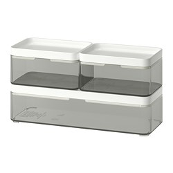 BROGRUND - box, set of 3, transparent grey/white | IKEA Hong Kong and Macau - PE728527_S3