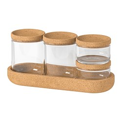 SAXBORGA - jar with lid and tray, set of 5, glass cork | IKEA Hong Kong and Macau - PE728534_S3