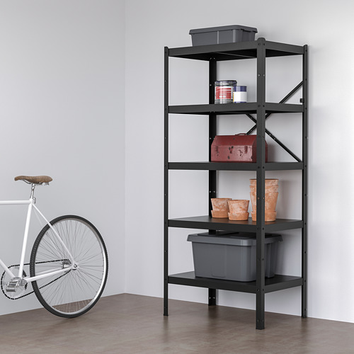 BROR - 層架組合, 85x55x190 cm, 黑色 | IKEA 香港及澳門 - PE718511_S4