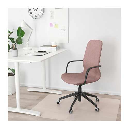 LÅNGFJÄLL - office chair with armrests, Gunnared light brown-pink/black | IKEA Hong Kong and Macau - PE685915_S4
