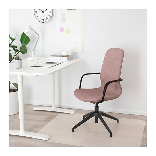 LÅNGFJÄLL 旋轉椅連扶手, gunnared 淺粉褐色/黑色