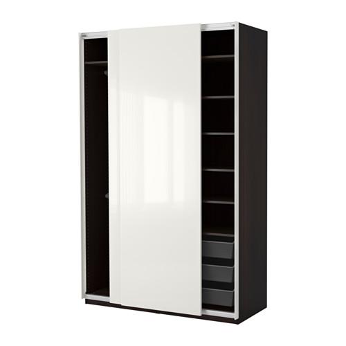 PAX - 衣櫃, 棕黑色/Hasvik 光面白色 | IKEA 香港及澳門 - PE402521_S4