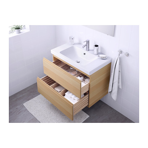 ODENSVIK/GODMORGON - wash-stand with 2 drawers, white stained oak effect/Dalskär tap | IKEA Hong Kong and Macau - PE570527_S4