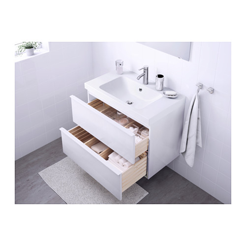 ODENSVIK/GODMORGON - wash-stand with 2 drawers, high-gloss white/Dalskär tap | IKEA Hong Kong and Macau - PE570532_S4