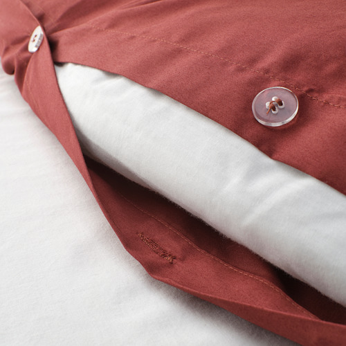 LUKTJASMIN quilt cover and 2 pillowcases, red-brown, 240x220/50x80 cm