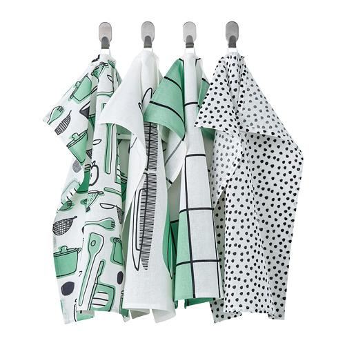 RINNIG - 抹布, 白色/綠色/圖案 | IKEA 香港及澳門 - PE772339_S4