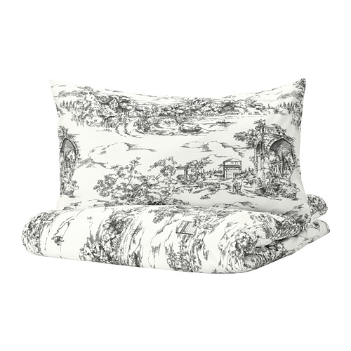 STJÄRNRAMS quilt cover and pillowcase, white/grey, 150x200/50x80 cm