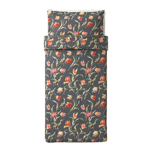 ÅLANDSROT quilt cover and pillowcase, grey/floral patterned, 150x200/50x80 cm