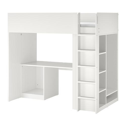 SMÅSTAD - loft bed frame w desk and storage, white | IKEA Hong Kong and Macau - PE783646_S4