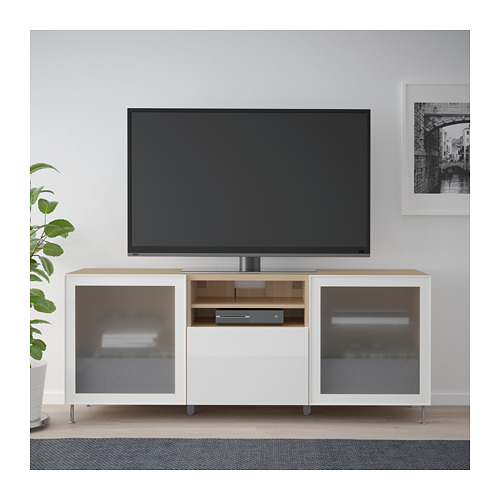 BESTÅ - TV bench with drawers, white stained oak effect/Selsviken/Stallarp high-gloss/white frosted glass   IKEA Hong Kong and Macau - PE686444_S4