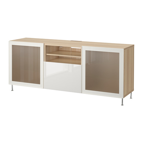 BESTÅ - TV bench with drawers, white stained oak effect/Selsviken/Stallarp high-gloss/white frosted glass   IKEA Hong Kong and Macau - PE686443_S4