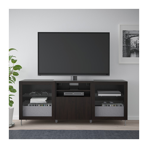 BESTÅ - TV bench with drawers, black-brown/Lappviken/Stallarp black-brown clear glass | IKEA Hong Kong and Macau - PE686451_S4