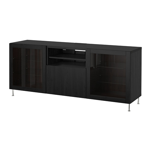 BESTÅ - TV bench with drawers, black-brown/Lappviken/Stallarp black-brown clear glass | IKEA Hong Kong and Macau - PE686466_S4