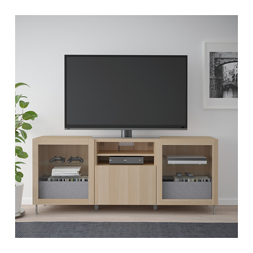 BESTÅ - TV bench with drawers, white stained oak effect/Lappviken/Stallarp white stained oak eff clear glass | IKEA Hong Kong and Macau - PE686454_S4