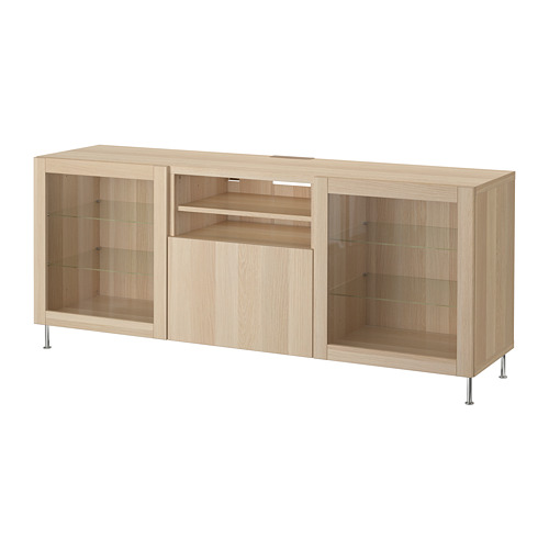 BESTÅ - TV bench with drawers, white stained oak effect/Lappviken/Stallarp white stained oak eff clear glass | IKEA Hong Kong and Macau - PE686453_S4