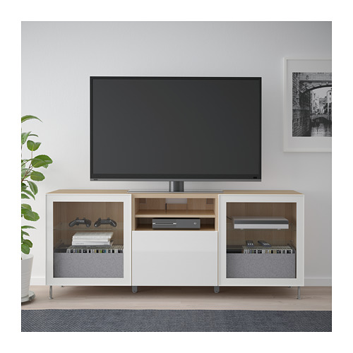 BESTÅ - TV bench with drawers, white stained oak effect/Selsviken/Stallarp high-gloss/white clear glass | IKEA Hong Kong and Macau - PE686469_S4
