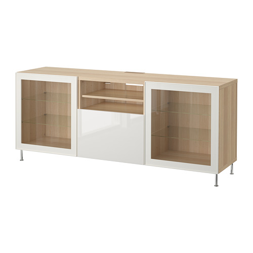 BESTÅ - TV bench with drawers, white stained oak effect/Selsviken/Stallarp high-gloss/white clear glass | IKEA Hong Kong and Macau - PE686458_S4