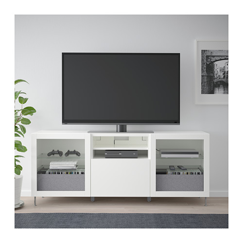 BESTÅ - TV bench with drawers, white/Lappviken/Stallarp white clear glass | IKEA Hong Kong and Macau - PE686460_S4