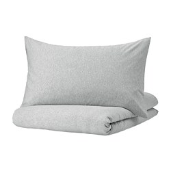 SPJUTVIAL - quilt cover and 2 pillowcases, light grey/mélange, 240x220/50x80 cm  | IKEA Hong Kong and Macau - PE775205_S3