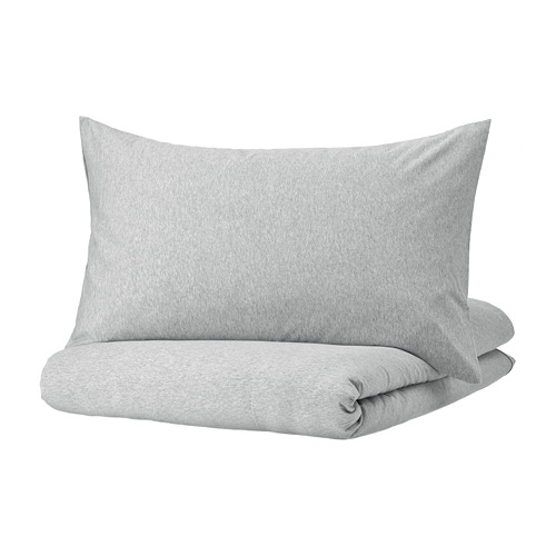 SPJUTVIAL - quilt cover and pillowcase, light grey/mélange, 150x200/50x80 cm  | IKEA Hong Kong and Macau - PE775205_S4